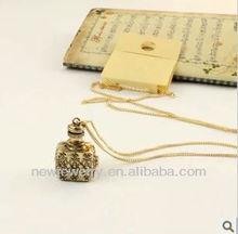 Fashion vintage exquisite18k gold plated perfume bottle shape long chain pendant necklace, necklace friendship
