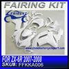 Fairing For Kawasaki Ninja Zx6r 636 NINJA ZX6R 2007 2008 WHITE PRIME PAINTED FFKKA006