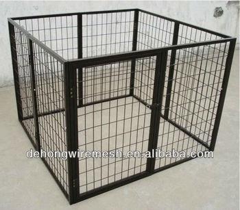 Black Power Coated Dog Cage Kennel