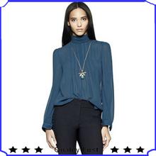 Sheer Chiffon Stylish Long sleeve Royal Blue High Neck Elegant Women Tops