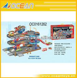 2013 hot sale carton freewheel car parking lot rail racing car,car set OC0161262