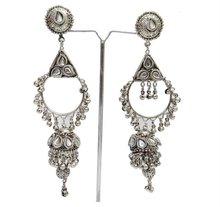 Tribal Large Ethnic Earrings Silver Tone Asian Jewelry