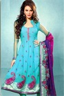 Cambridge Blue Net Silk Thread Embroidery Suit With Designer Dupatta