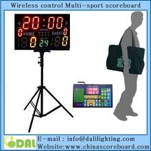 LED portable multi-function scoreboard with shot clock