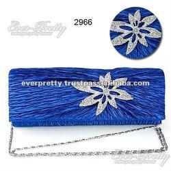 02966BL Blue Satin Rhinestones Flower Party Clutch Lady Hand Bag