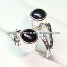 925 stamped sterling silver black onyx semi precious gemstone ring