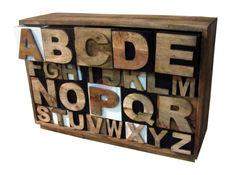 Vintage Alphabet Drawer Chest