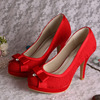 Red Lace Spring Style Shoes Woman Wedding Heels