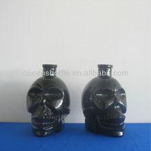 BLACK GLASS SKULL SHAPED VODKA/LIQUOR BOTTLE