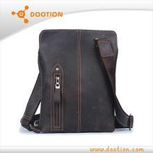 Oil pull up leather shoulder bag for men