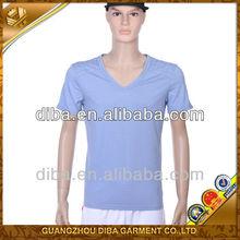 Men's Plain V Neck Short cotton T shirt Cheap For Sale