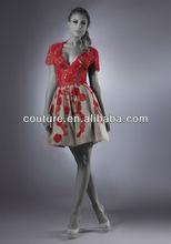 New Arrival short sleeve V neck knee length Trumpet red lace appliqued TM424 cocktail dresses knee length sleeves
