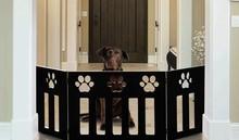 Adjustable Three-Panel Black Wooden Pet Gates with Paw Decor