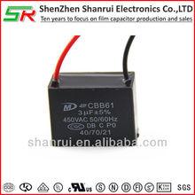 Polypropylene ceiling fan capacitor 3uf 450VAC
