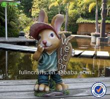 Welcome Sign Garden Decoration Handmade Rabbit Resin
