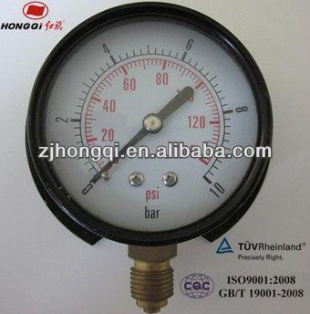 "100mm(4"") panel mount low bourdon tube type pressure gauge 0~140 psi &0~10 bar"