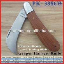 "(PK-3886W) 4.25"" Rosewood Handle Folding Utility Pocket Grape Harvest Knife"