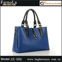 Weave pattern high quality no name blue handbags(AX-006)