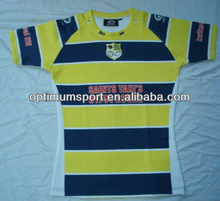 Men's 100% Polyester Short Sleeve Sublimation Rugby Jersey
