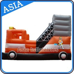 inflatable fire truck bouncer with slide