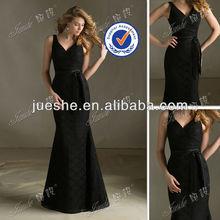 Trumpet/Mermaid Deep V-neck Floor Length Lace Black Bridesmaid Dress