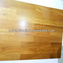 3-strip Iroko laminate floor of anti-scratch 7-9 times UV lacquer