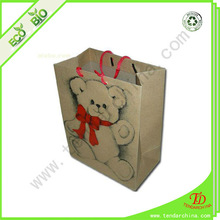 teddy bear paper bag for gift packing, with rope handles