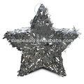 Nuevo diseño brillante metálico hoja de plata estrella piñata para celebración de cumpleaños