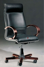 Modern High Back Leather Executive Chair with Wooden Armrest