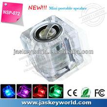 NSP-072 Flash light ICE portable cube crystal mini speaker for phone