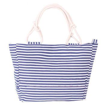 Fahion korean hobo dark blue stripe canvas woman designer handbag