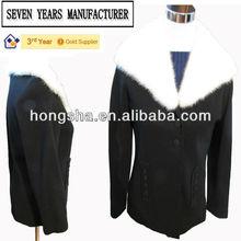 Fur Collar black wool jacket for women. HGS1746