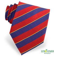 Blue and Red Silk Woven Stripe Necktie