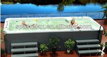 Fiberglass spa swimming pool Outdoor Swim Pool with TV and LED Waterfall