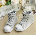 Hijos nuevo estilo de encaje del tobillo- casual hasta los deportes zapatos de los niños del cordón- up de lona zapatos de la escuela