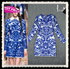 Long Sleeve Printing Blue Fashion Cocktail Dress Fashion 2013