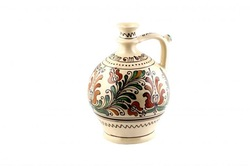 Coloured painted ceramic pitcher