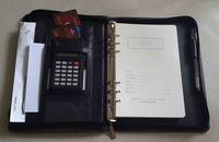leather organizer portfolio 2014 with zipper and calculator