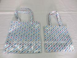 Blue PVC Laminated Printed Cotton TC Fabric shopping bag
