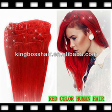 red color 7pcs 14clip easy wear 100% human hair clip in hair extension on sale