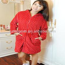 Girls' Hooded Housecoat Bath Robes With Zipper