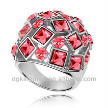 Kingman 2013 top vendita anelli colorati rosso anello di cristallo austriaco