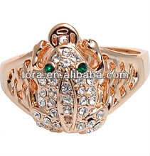 wholesale 18 karat gold plated ring with paved multi stones frog men's ring