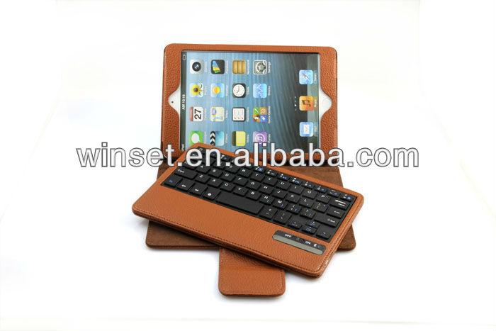 High Quality Bluetooth Keyboard Leather Case For iPad Mini