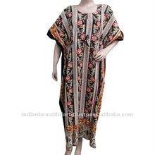 Floral Kaftan Lady Night Wear Cotton Dress Free Size
