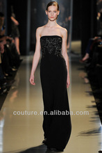 PDM-0025 Graceful Couture Black Chiffon Beadings Sweetheart Floor Length Long prom dresses 2014