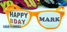 Promotional neon orange Retro Sunglasses Customized with Printed Logo