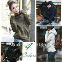 2012 Korea Long Sleeve Short Cotton Blends Women Hoodie Coat Outerwear Wholesale 3288