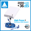 MELON 2000mW outdoor usb wireless adapter,2.4Ghz frequency,36dBi antenna,150Mbps transmission