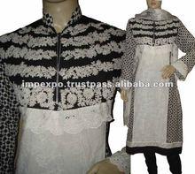 Ladies Designerwear Embroidered Chicken Lawn Cotton Kali Frock with Churidar Pajama ( 3 pcs suit )
